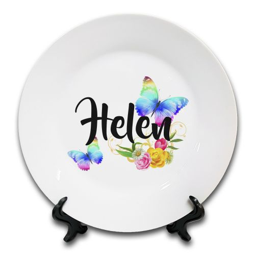 "8"" Personalised Beautiful Butterflies & Flowers Novelty Gift Ceramic Plate & Stand"